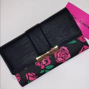 New Betsey Johnson Black Wallet w/ Roses